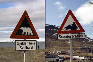 Road signs in Norway - Image: Longyearbyen traffic signs