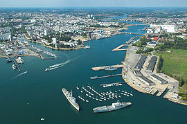 Aerial view o the harbour o Lorient