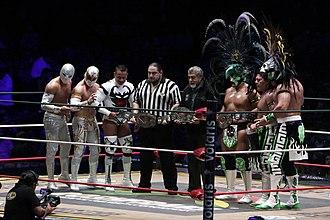 CMLL World Trios Championship - Champions Los Guerreros Lagunero and challengers Carístico, Místico, and Volador Jr.