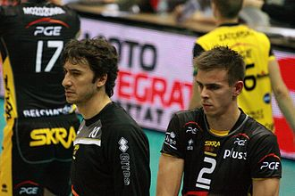 PGE Skra Bełchatów - Setter Falasca and opposite, captain of PGE Skra Bełchatów Wlazły during the match against Lotos Trefl Gdańsk on September 30, 2011.