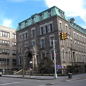 Bishop Loughlin Memorial High School - La Salle Hall, at Clermont and Greene Avenues. Former residence of Bishop John Loughlin and Christian Brother faculty and staff members.