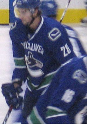 Luc Bourdon - Bourdon warming up before a game on November 16, 2007. He scored his first NHL goal that night.