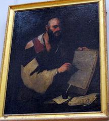 Philosophe traçant des figures géométriques avec un compas