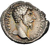 Denarius van een Romeinse keizer (Lucius Verus)