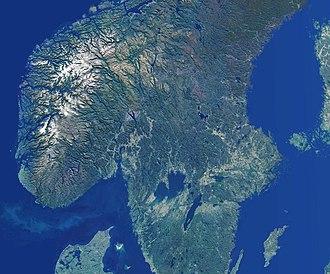 Scandinavian Peninsula - A satellite view of the Scandinavian Peninsula