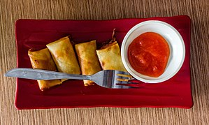 Lumpia - Smaller size deep fried lumpia sold as snack in Purwokerto Train Station, Central Java.