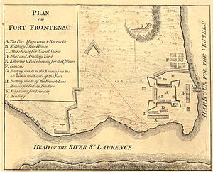 Battle of Fort Frontenac - A 1763 map showing the British positions