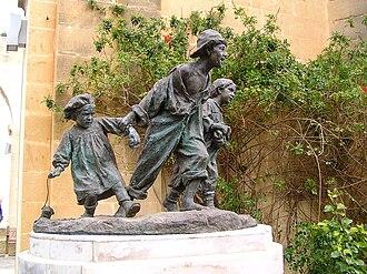 Gavroche - Gavroche and his brothers, sculpture in the Upper Barrakka Gardens, Valletta, Malta.