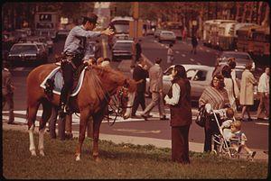 Philadelphia Police Department - A Philadelphia Police police officer in the Mounted Patrol Unit, October 1973.