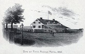 "Madison Square and Madison Square Park - ""Madison Cottage"", also known as ""Corporal Thompson's Roadhouse"" at Fifth Avenue and 23rd Street, in 1852"