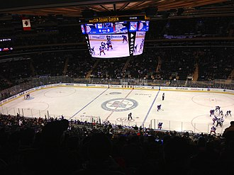 Madison Square Garden - The completely transformed Madison Square Garden in January 2014 (with a new HD scoreboard), as the New York Rangers play against the St. Louis Blues.