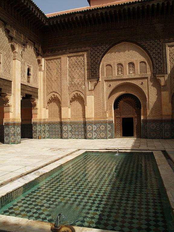 Patio de la medersa Ben Youssef à Marrakech au Maroc - Photo de Miguel Hermoso Cuesta