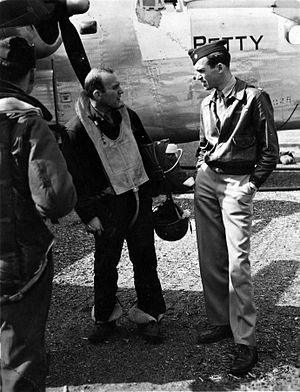 "453rd Operations Group - Major James ""Jimmy"" Stewart, right, 1943"