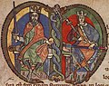 Malcolm IV, King of Scotland, charter to Kelso Abbey, 1159, initial (crop).jpg