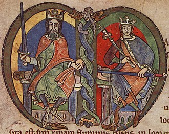 Battle of Renfrew - Twelfth-century depictions of Malcolm IV, King of Scotland and his grandfather, David I, King of Scotland.