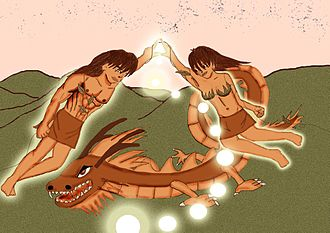 Temuan people - An illustration of Mamak and Inak Bungsuk the founding father and mother of the Temuan people.