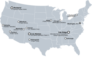 Carte des principaux sites du projet Manhattan