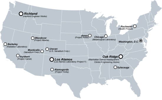 A selection of U.S. sites important to the Manhattan Project.