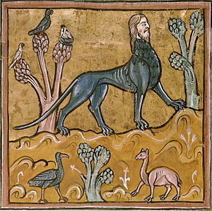 Manticore - Manticore in an illustration from the Rochester Bestiary (c.1230-1240)