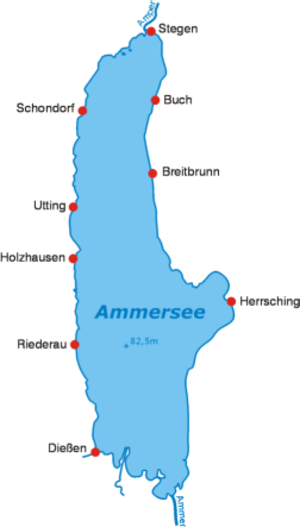 Zungenbecken - Map of the Ammersee showing its elongated shape