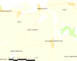 Mapa obce Mont-Laurent