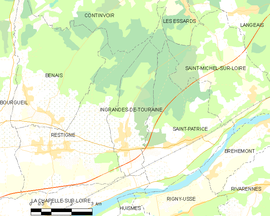 Mapa obce Ingrandes-de-Touraine