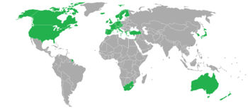 Map of Developed Countries (DCs) as described by the CIA
