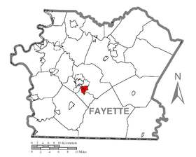 Map of Hopwood, Fayette County, Pennsylvania Highlighted.png