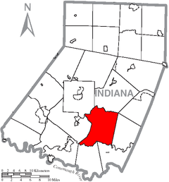 Map of Indiana County, Pennsylvania Highlighting Brush Valley Township.PNG