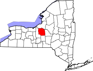 Map of New York highlighting Onondaga County