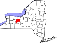 Map of New York highlighting Ontario County