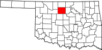 Map of Oklahoma highlighting Garfield County