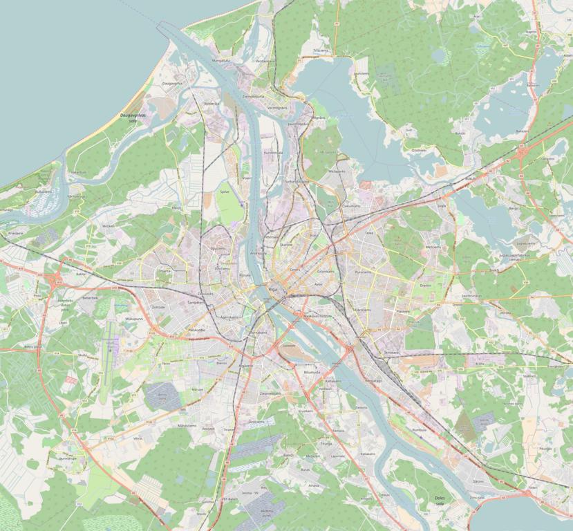 Carte de Riga : Plan détaillé des lieux intéressants.
