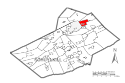 Map of Schuylkill County, Pennsylvania Highlighting Delano Township