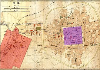 Shenyang - Japanese-administered zone (orange) and the old Shenyang city (violet) in 1919