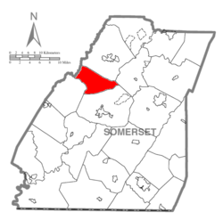 Map of Somerset County, Pennsylvania Highlighting Lincoln Township