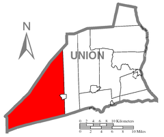 Map of Union County, Pennsylvania Highlighting Hartley Township.PNG