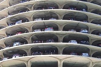 Marina City - Close-up of Marina City parking
