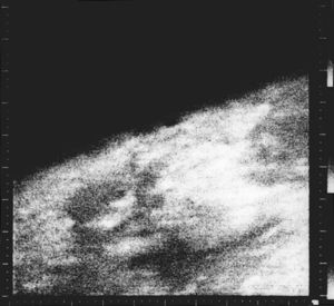 Exploration of Mars - The first close-up images taken of Mars in 1965 from Mariner 4 show an area about 330 km across by 1200 km from limb to bottom of frame.
