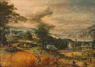 Landschap met oogstende boeren