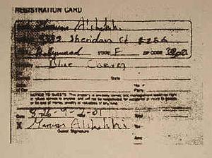 Marwan al-Shehhi - Shehhi's motel registration