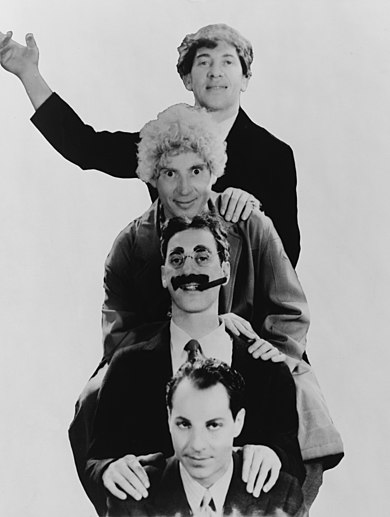 The Marx Brothers in 1931 (from top, Chico, Harpo, Groucho, and Zeppo) Marx Brothers 1931.jpg