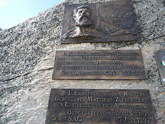 Matthias Zurbriggen - Matthias Zurbriggen, Monte Moro Pass, (Switzerland)