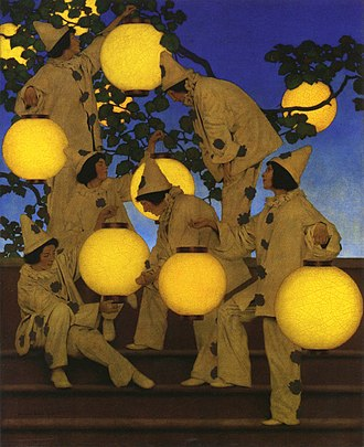 Maxfield Parrish - The Lantern Bearers (1908), created for Collier's magazine, shows Parrish's use of glazes and saturated color in an evocative night scene. Crystal Bridges Museum of American Art