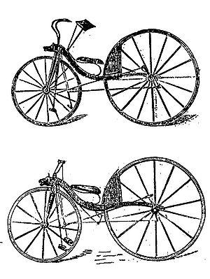 Kirkpatrick Macmillan - Thomas McCall's first (top) and improved velocipede from The English Mechanic of 1869 - the first rear-wheel pedalled bicycle according to some historians