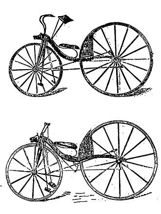 Thomas McCall - McCall's first (top) and improved velocipede of 1869 - later predated to 1839 and attributed to MacMillan