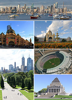 Vasemmalta oikealle, ylhäältä alas: 1) Melbournen keskusta, 2) Flinders Street Station, 3) Shine of Remembrance, 4) Federation Square, 5) Melbourne Cricket Ground ja 6) Royal Exhibition Building.
