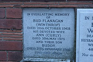 Bud Flanagan - Memorial to Bud Flanagan, Golders Green Crematorium