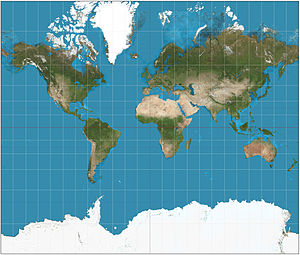 Mercator projection - Mercator projection of the world between 82°S and 82°N.