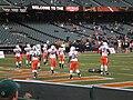 Miami on field pregame at 2008 Emerald Bowl 1.JPG